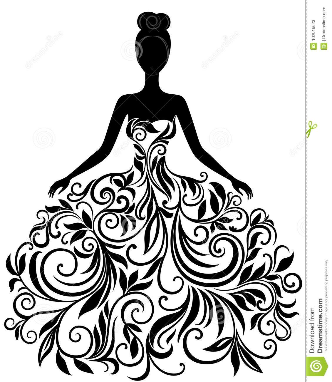 Vector Silhouette Of Young Woman In Dress Stock Vector