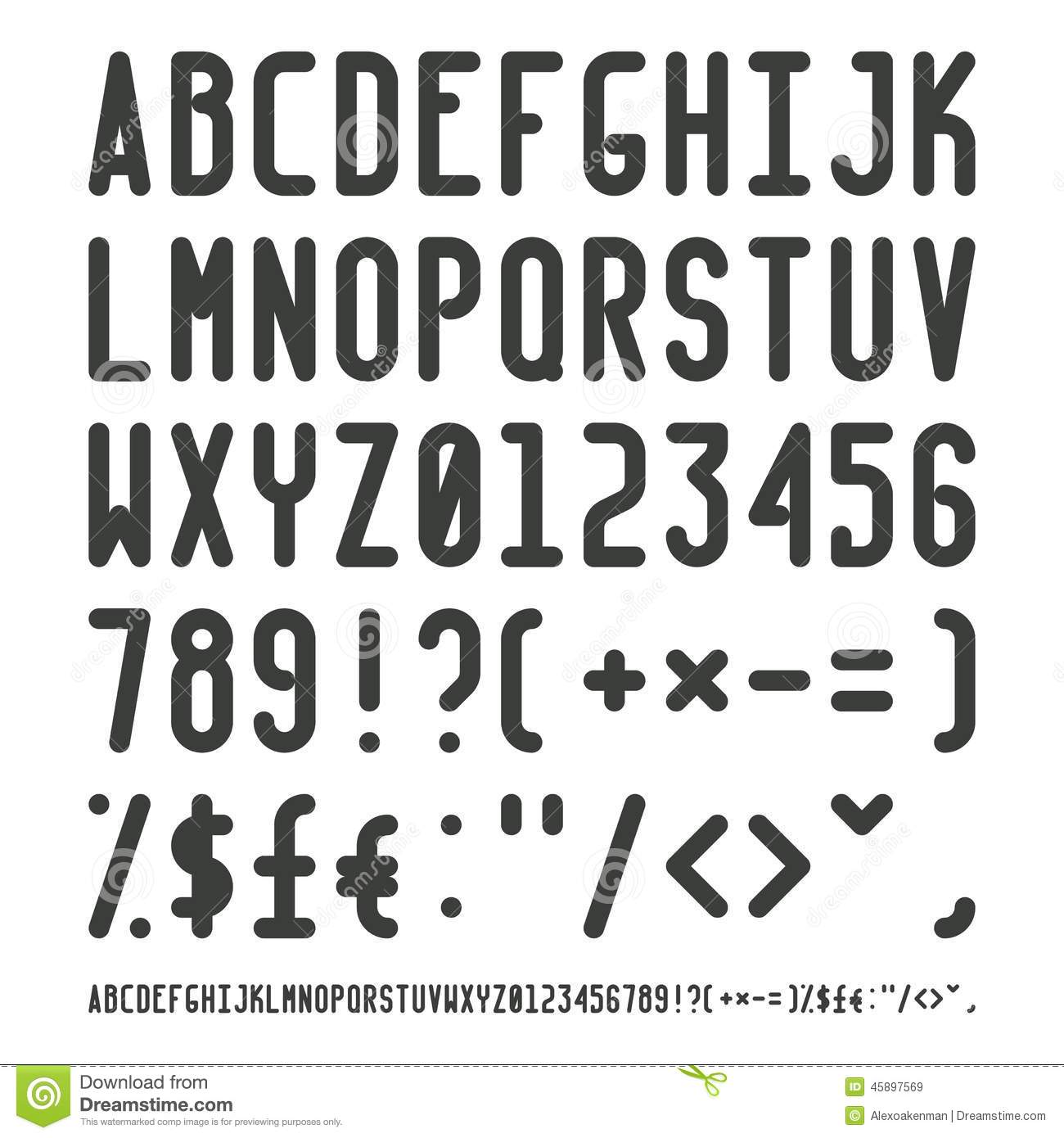 Vector Simple Narrow Outline Font With Uppercase Letters