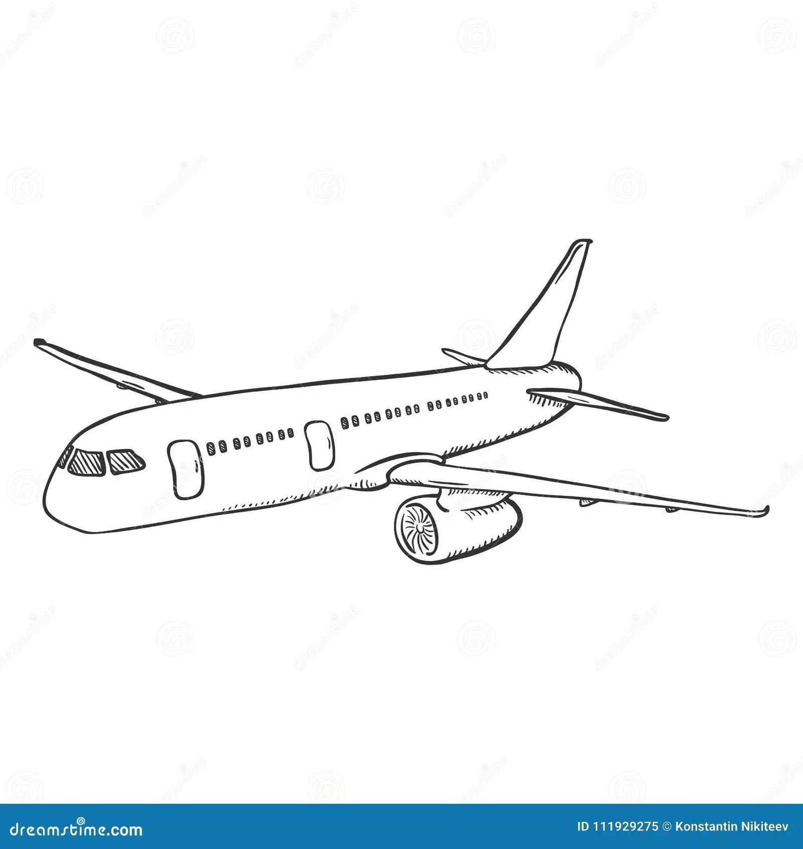 Vector Single Black Sketch Airplane Stock Illustration