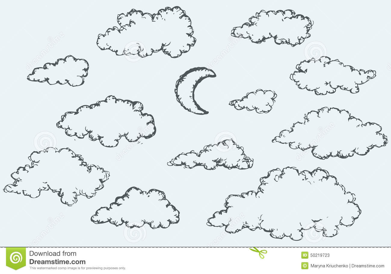 Vector Sketch Clouds And Crescent Stock Vector