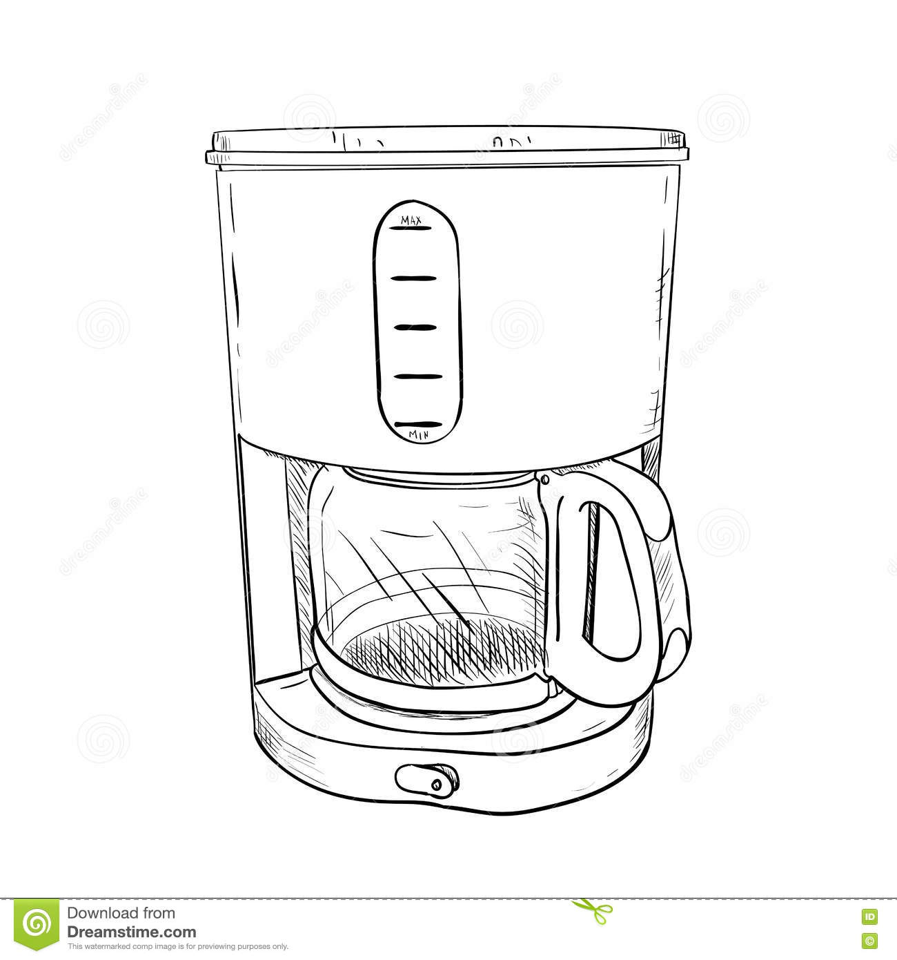 Vector Sketch Of Electric Coffee Maker Stock Vector