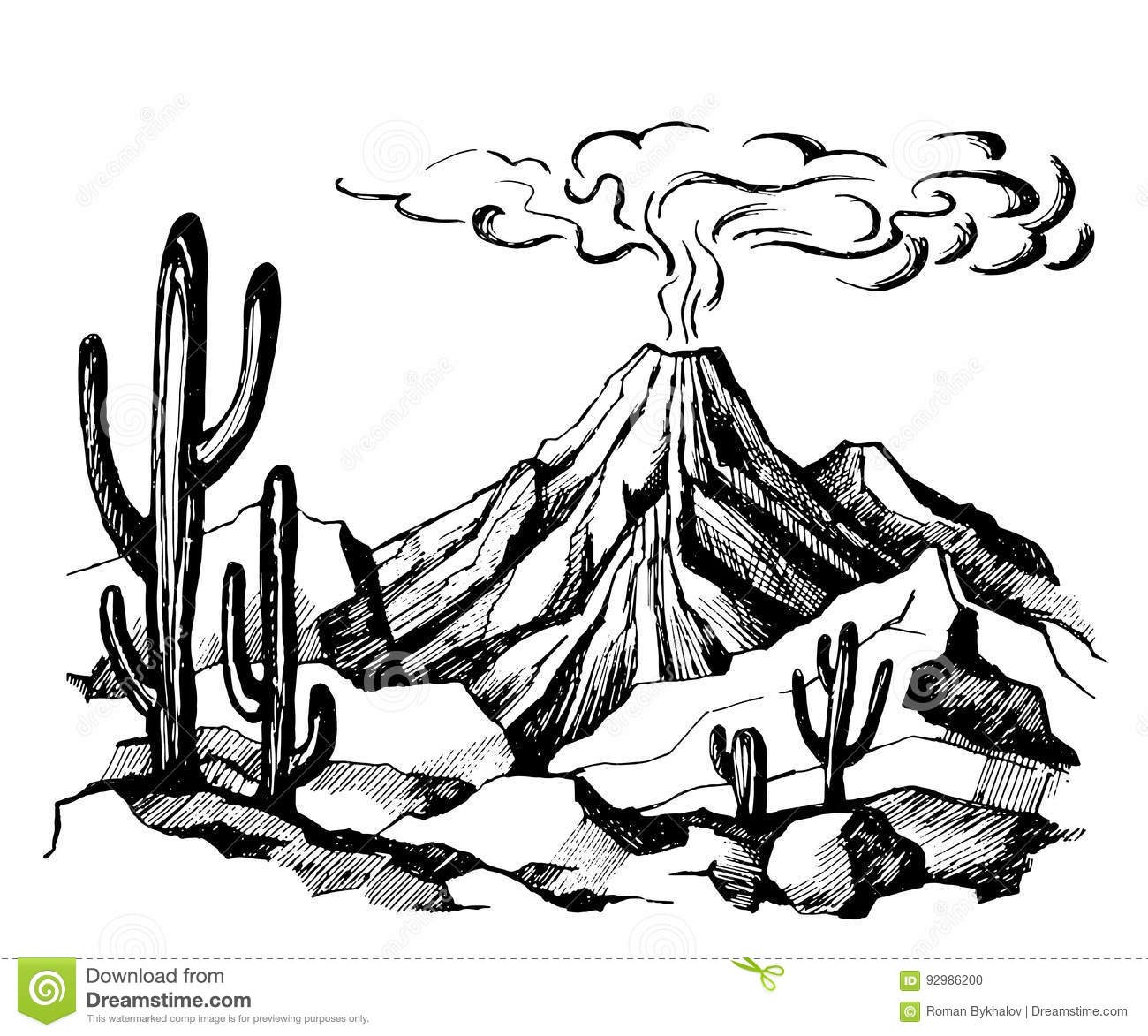 Vector Sketch Landscape Volcanic Eruption Stock Vector