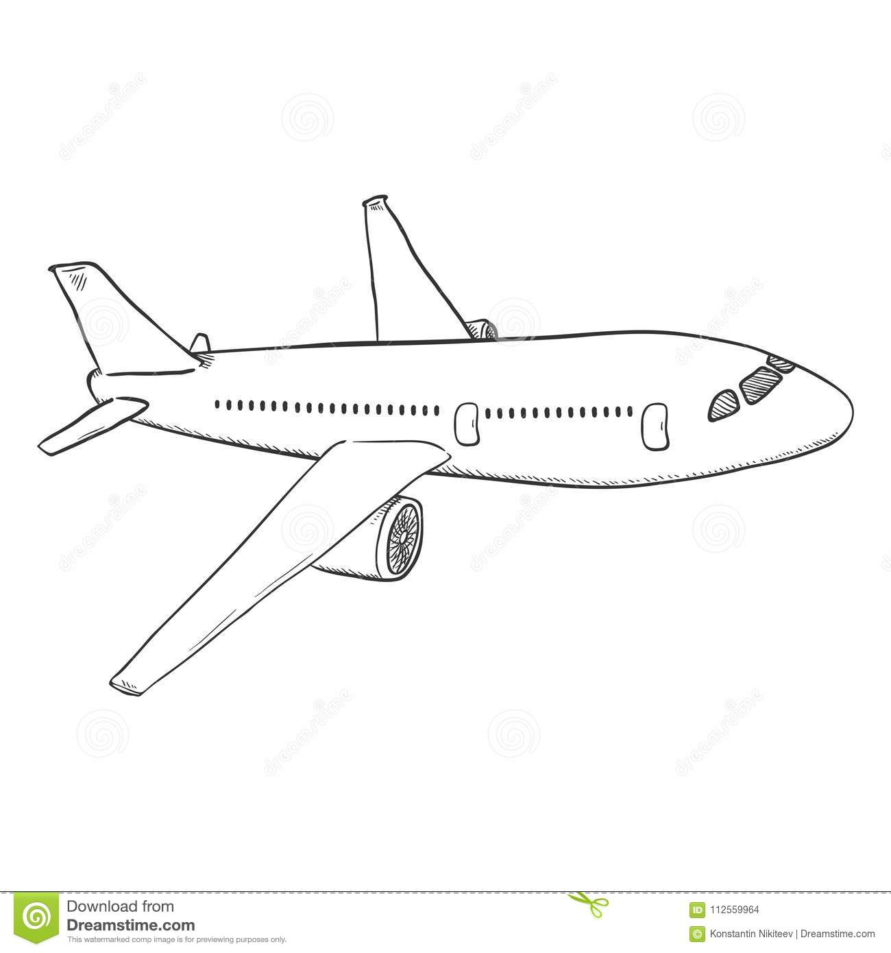 Vector Sketch Passenger Airplane Commercial Aviation