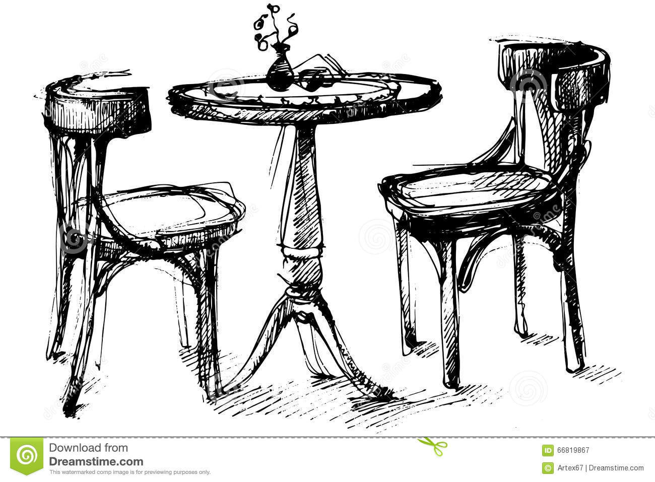 Vector Sketch Of A Round Wooden Table And Two Chairs In