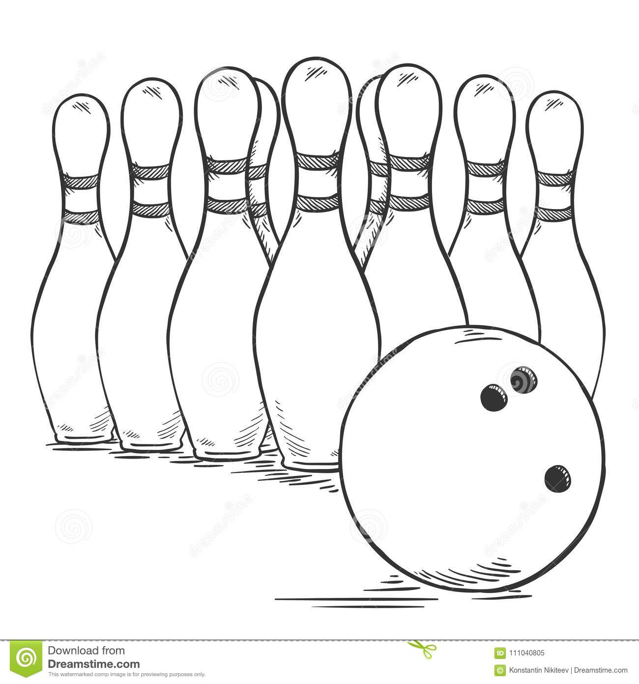 Vector Sketch Set Of Bowling Skittles And Ball Stock