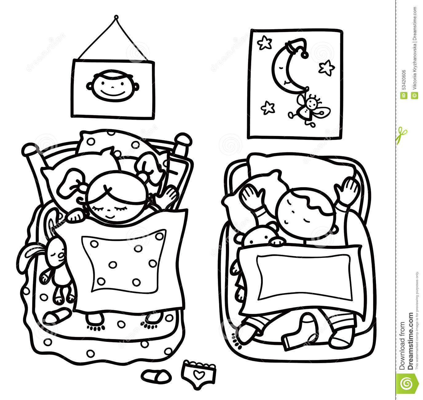 Vector Sleeping Cute Kids Stock Vector Illustration Of