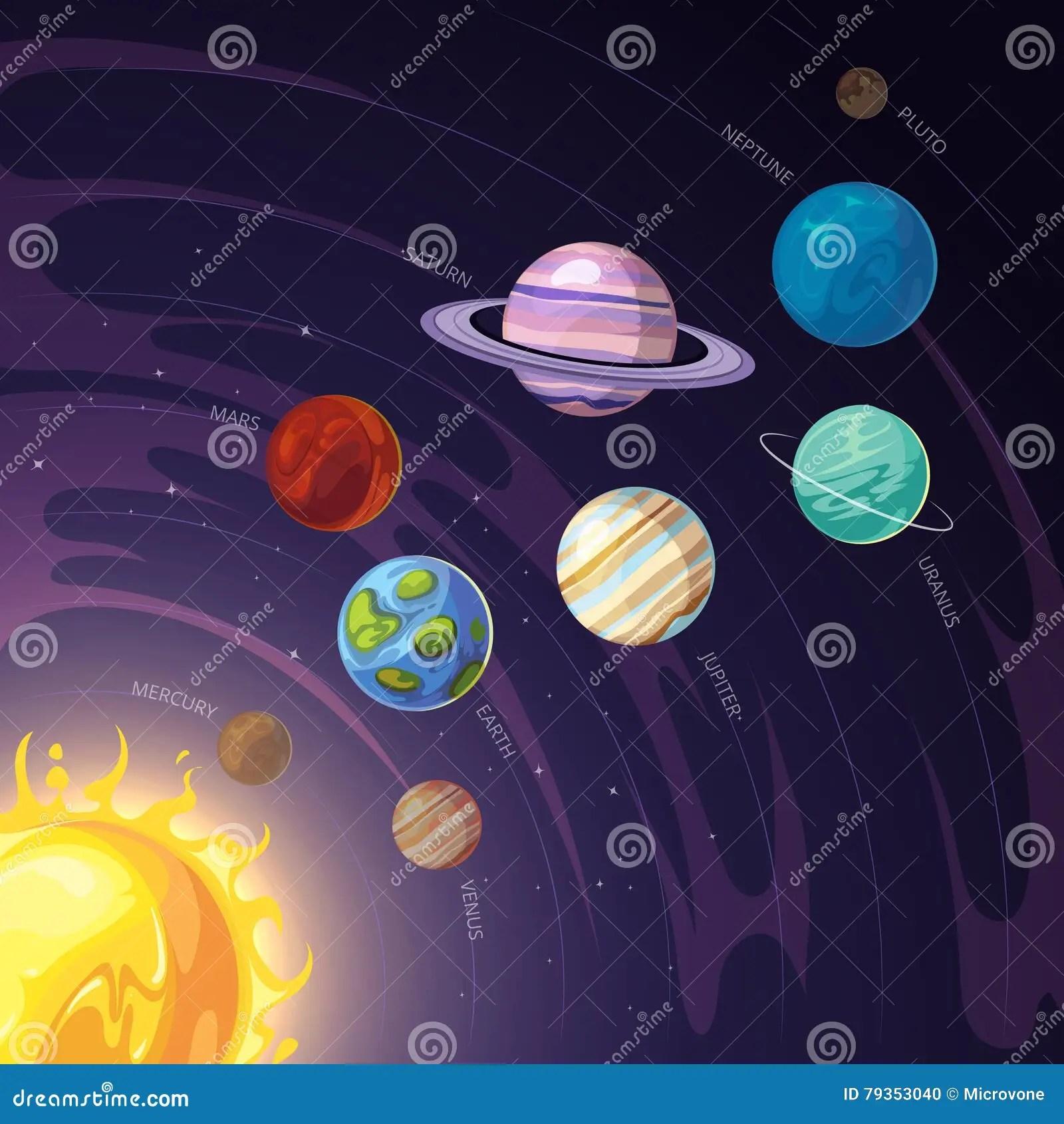 Vector Solar System With Mercury Venus Earth Mars
