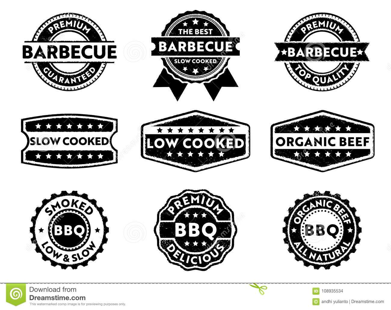 Vector Stamp Badge Label For Marketing Selling Barbecue