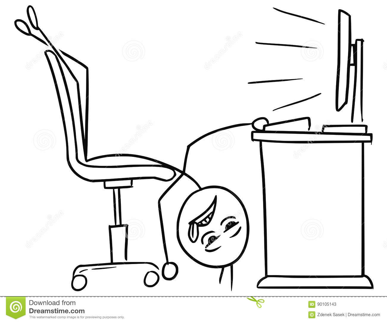 Vector Stick Man Cartoon Of Man Lying On The Office Chair