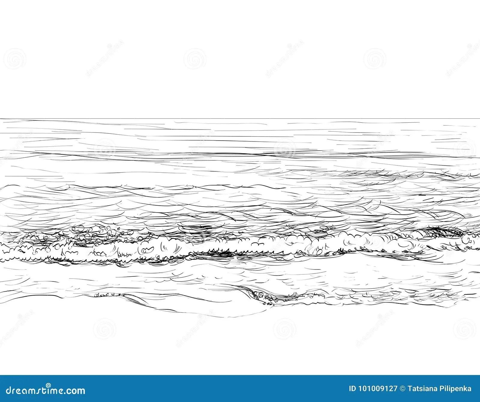 Summer Seascape Sketch Stock Vector Illustration Of Beach