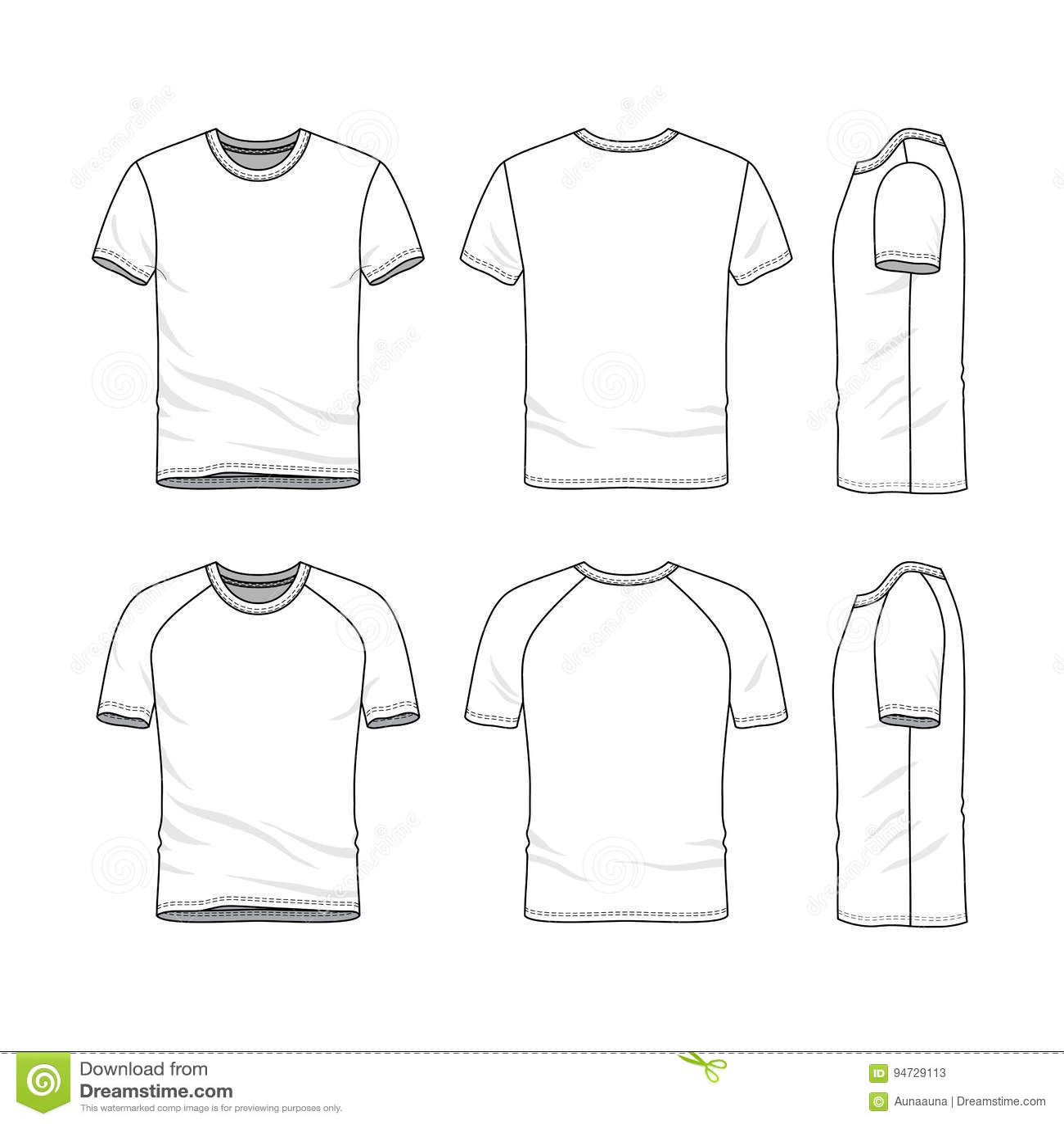 Vector Templates Of Blank T Shirt Stock Vector
