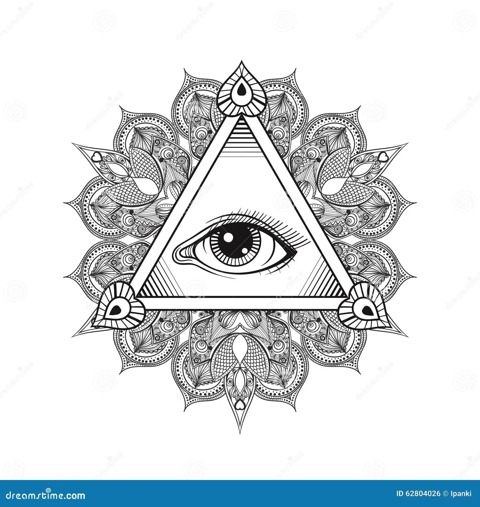 Vector Todo El Simbolo De La Piramide Del Ojo Que Ve