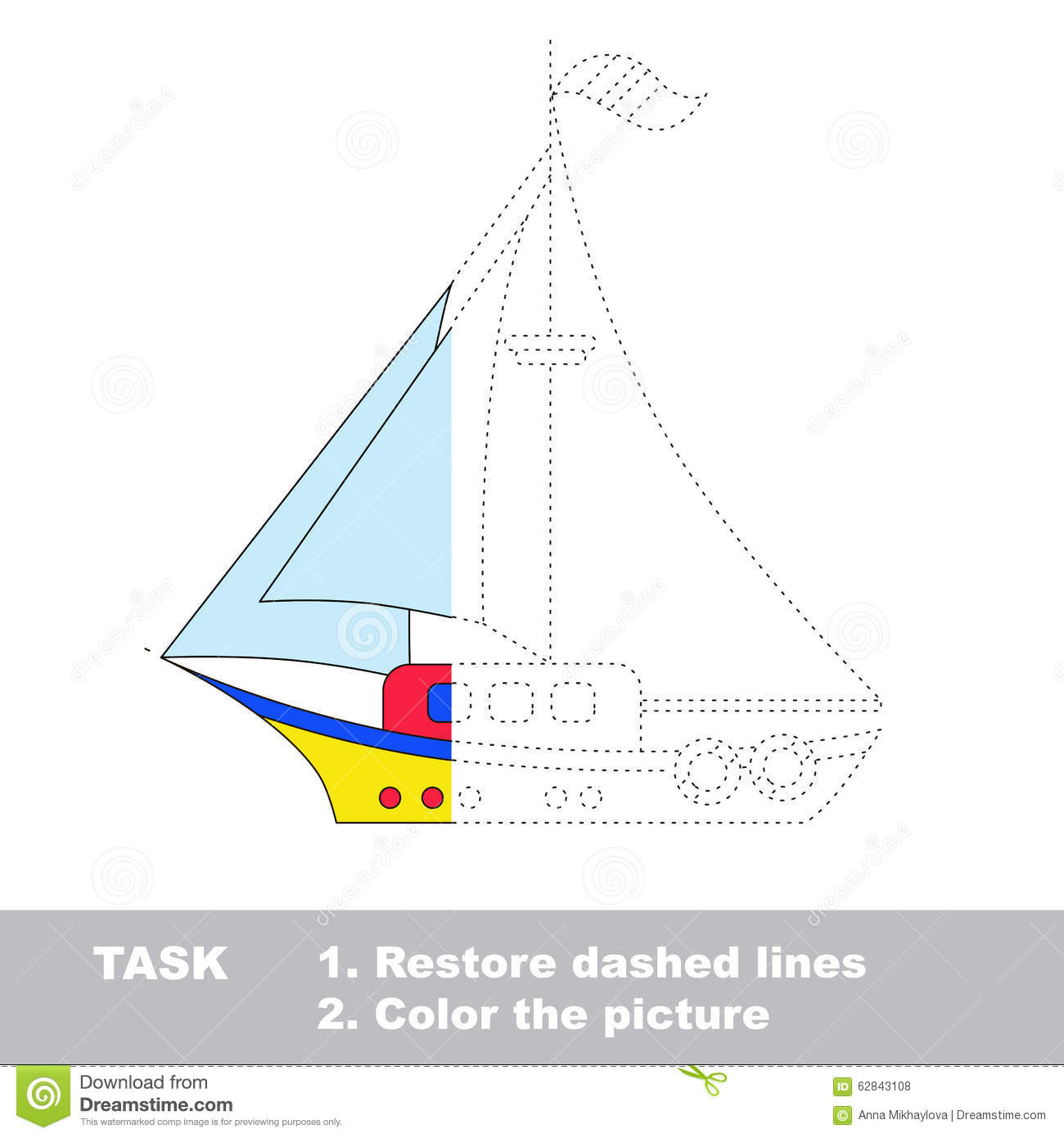Vector Trace Game Boat To Be Colored Stock Vector