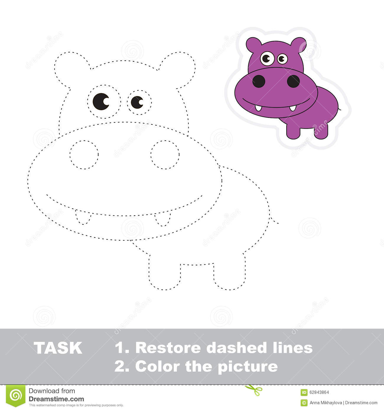 Vector Trace Game Hippo To Be Traced Stock Vector