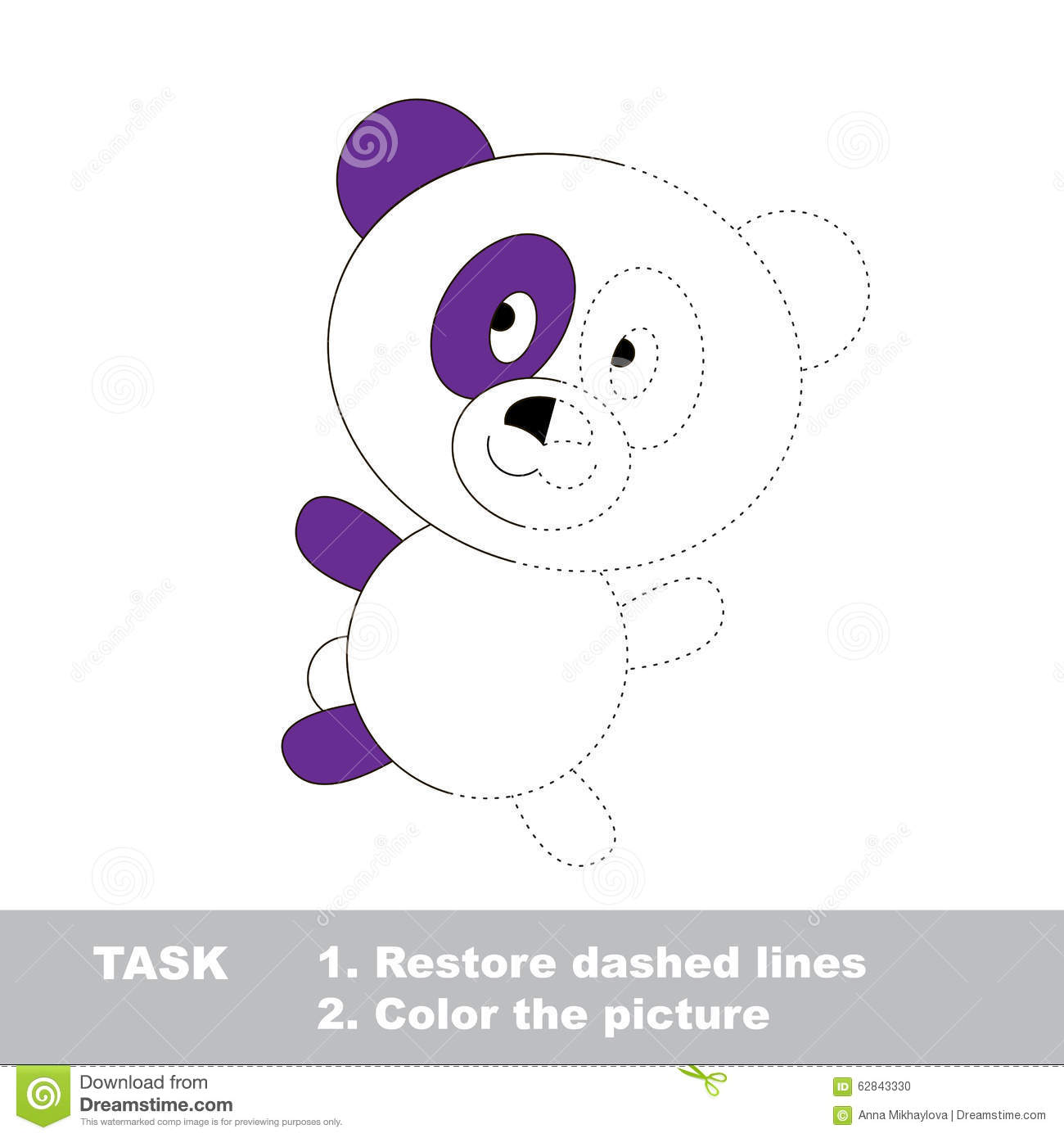 Dot To Dot And Coloring Page With Panda Bear Vector