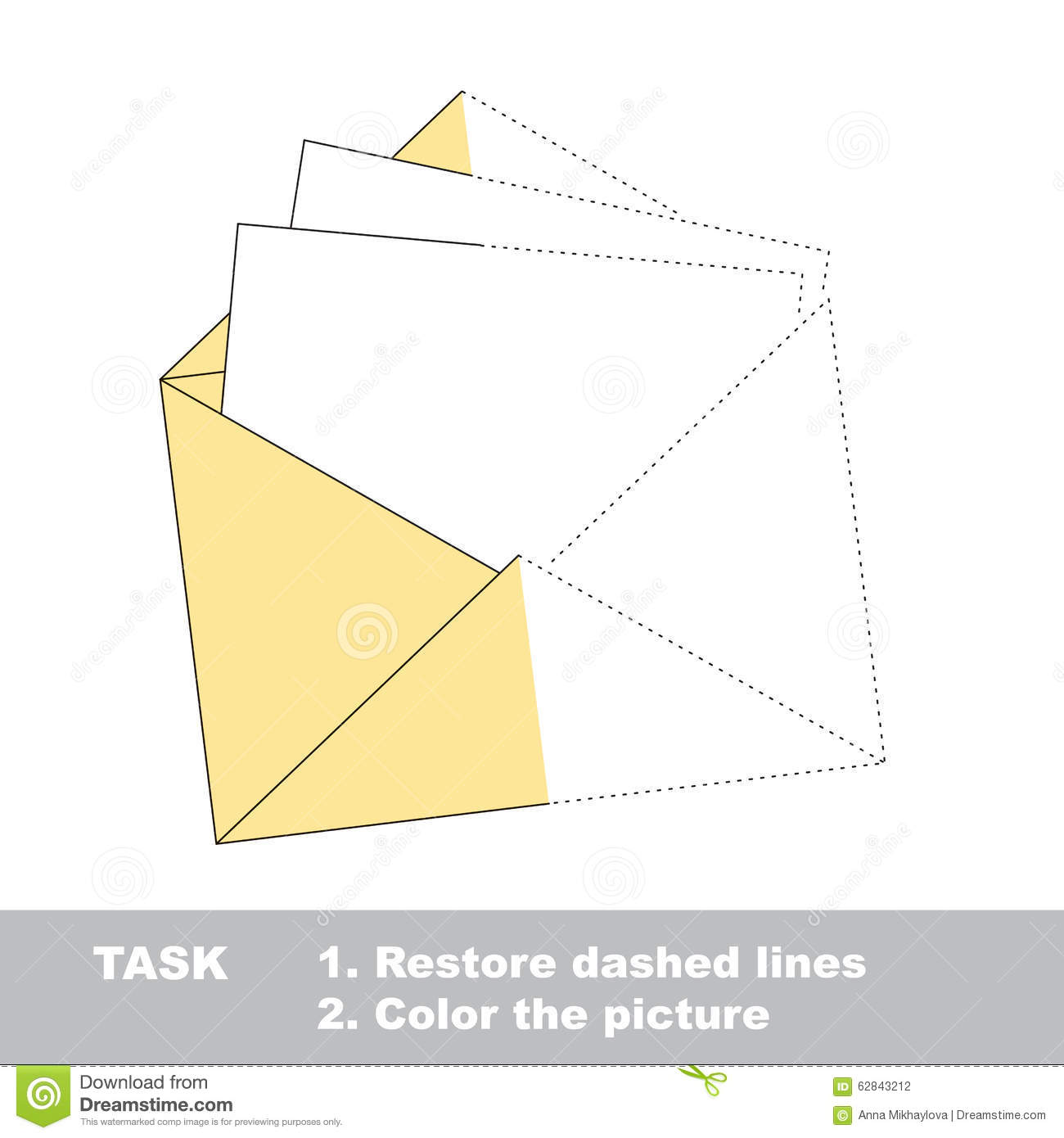 Vector Trace Game Paper Envelope To Be Colored Stock