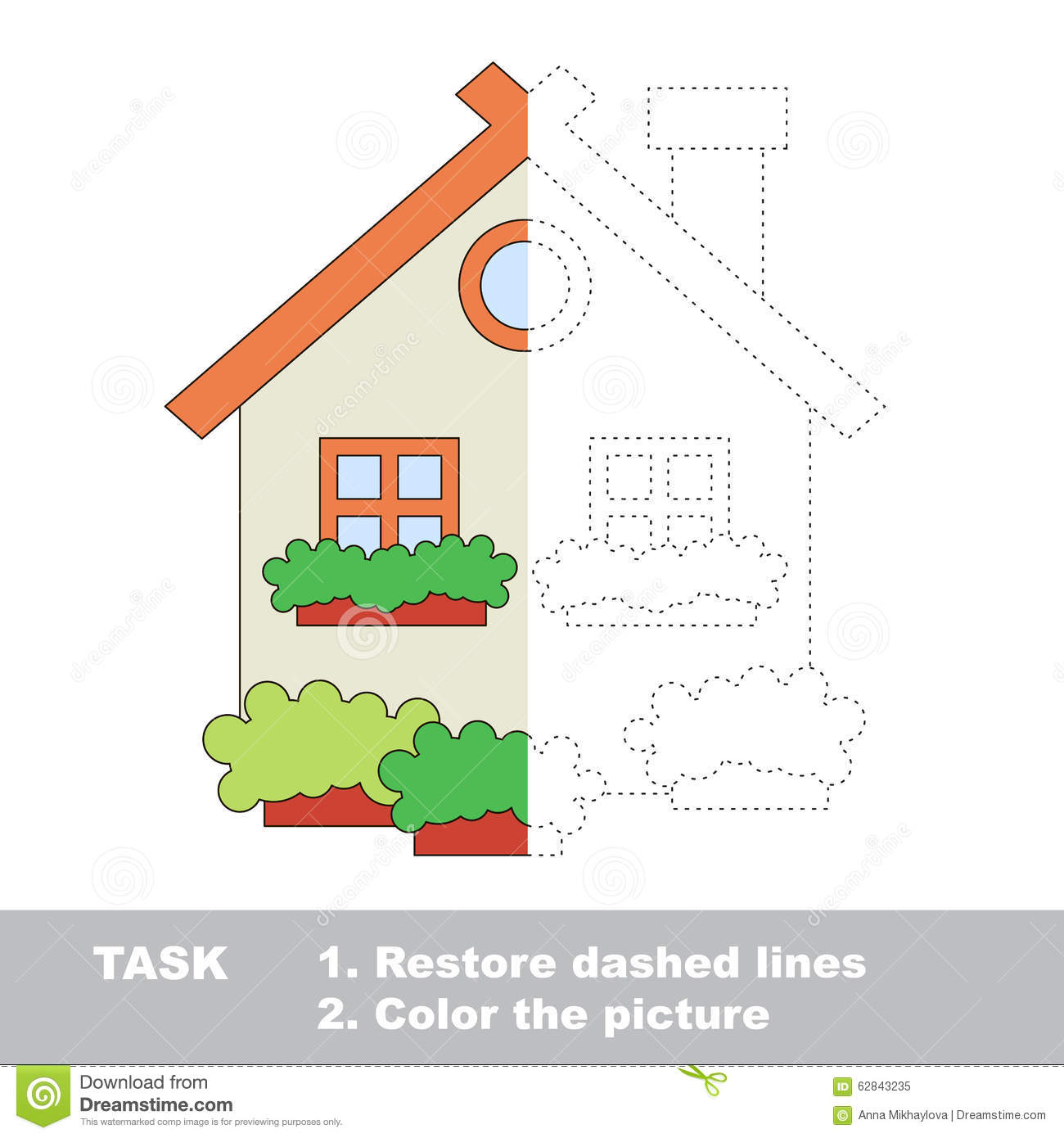 Vector Trace Game Umbrella To Be Colored Stock Vector