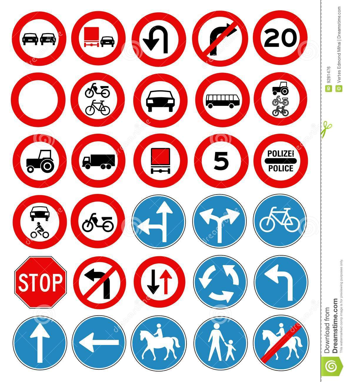 Vector Traffic Signs Collection Royalty Free Stock Image