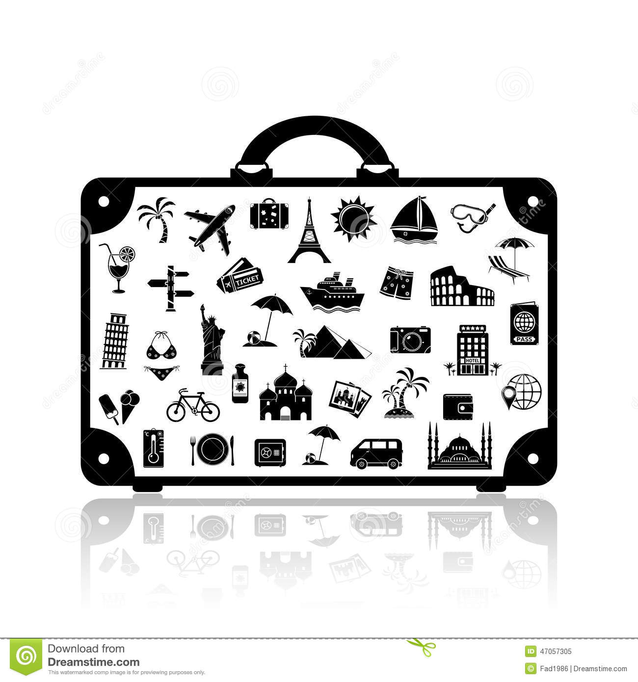 Vector Travel Suitcase Stock Vector