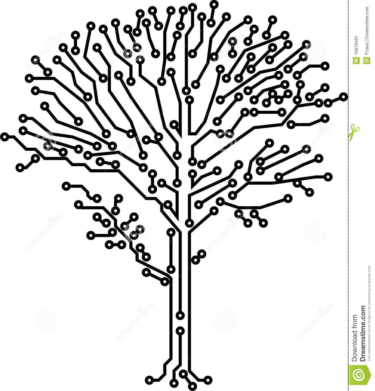 Vector Tree Crone Made Of Electronic Paths Stock Vector
