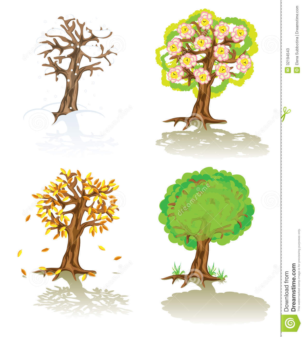 Vector Trees Of Four Seasons Stock Photos