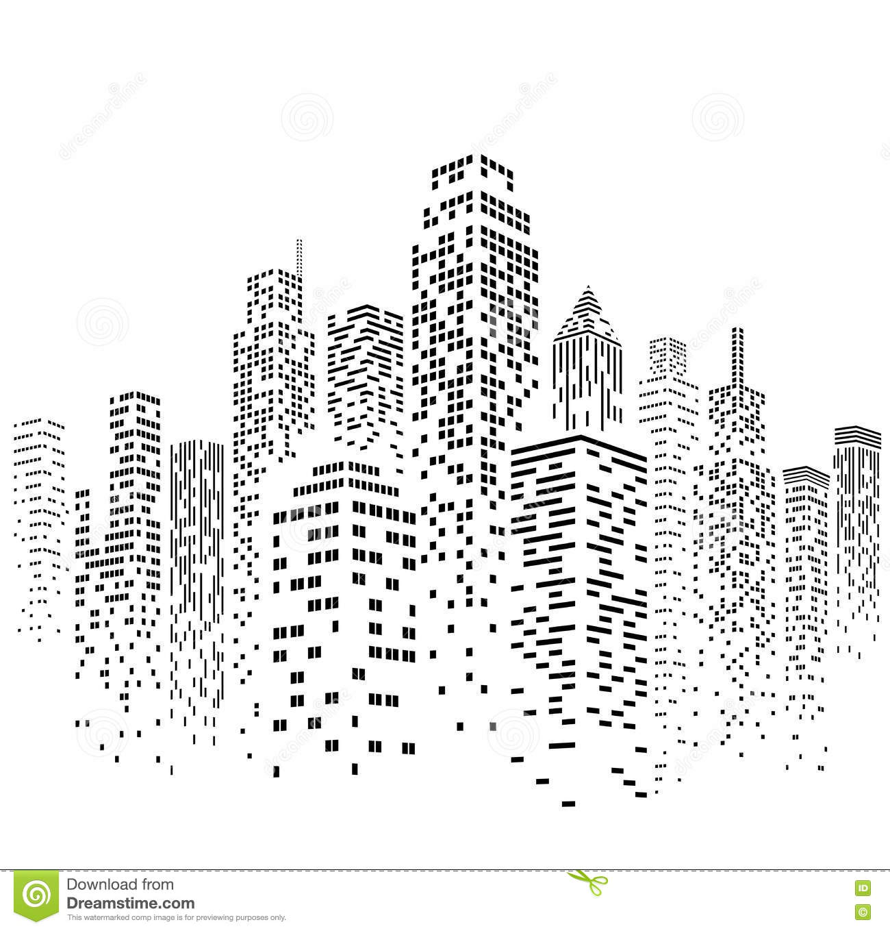 Vector Urban Cityscape Silhouette Illustration Stock