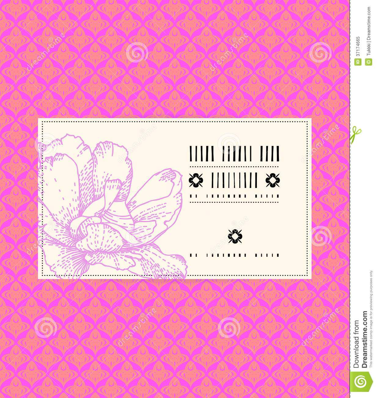 Vector Vintage Card With Peony Flower Stock Vector Image 37174665