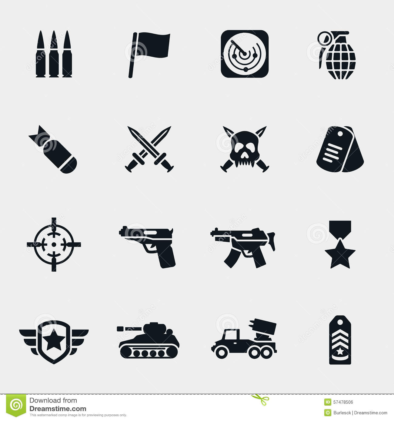 Vector War Icons Stock Vector Illustration Of Force