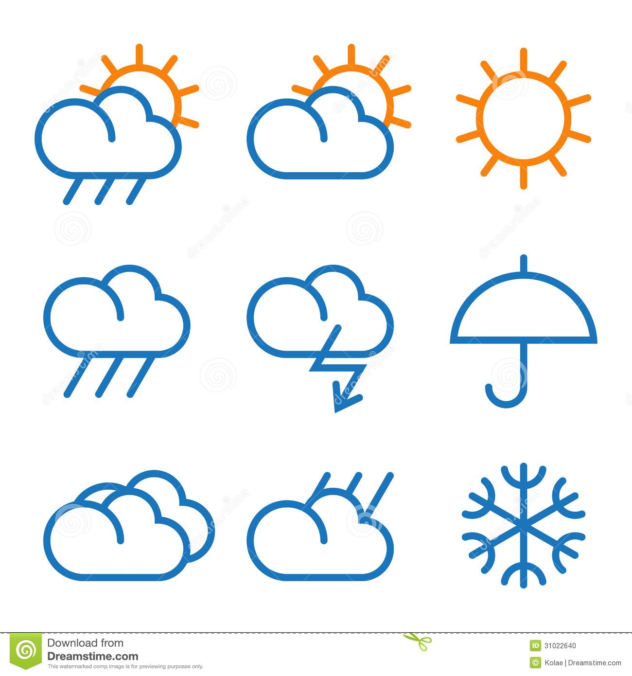 Vector Weather Symbols Stock Vector Illustration Of