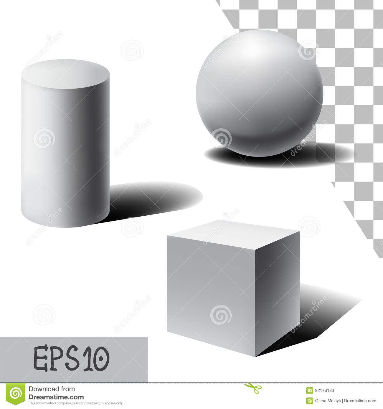 Vector White 3d Sphere Cube And Cylinder With Shadows