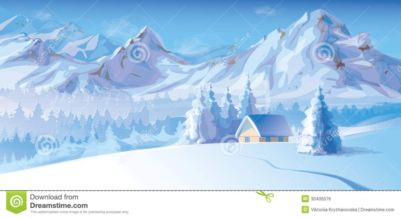Vector Of Winter Landscape With Mountains And Cote Royalty