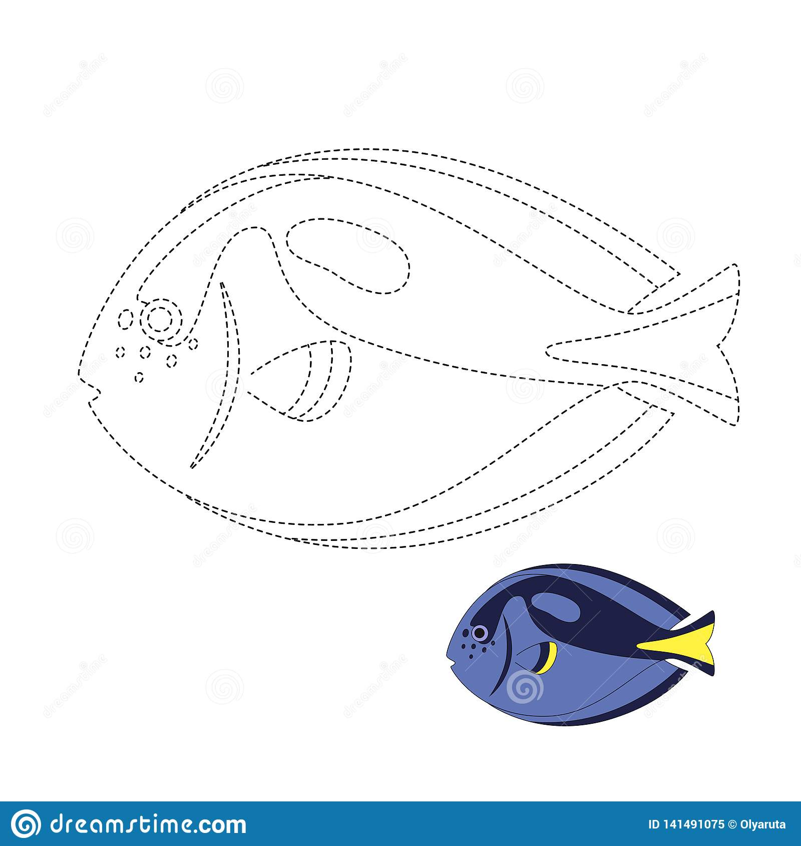 Vector Illustration Of Fish For Coloring Book Stock Vector