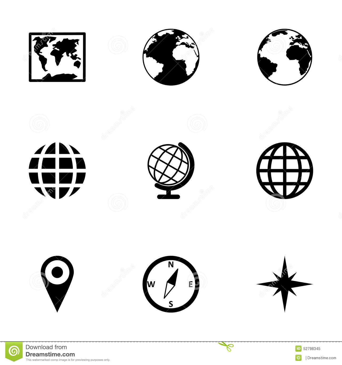 Vector World Map Icon Set Stock Vector Image Of