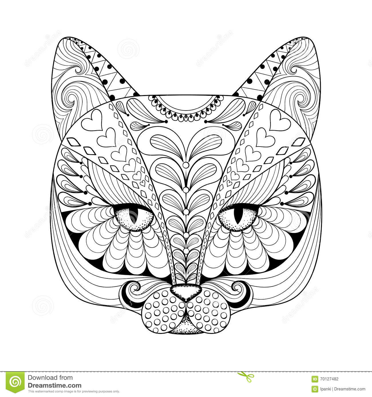 Vector Zentangle Cat Print For Adult Coloring Page Hand
