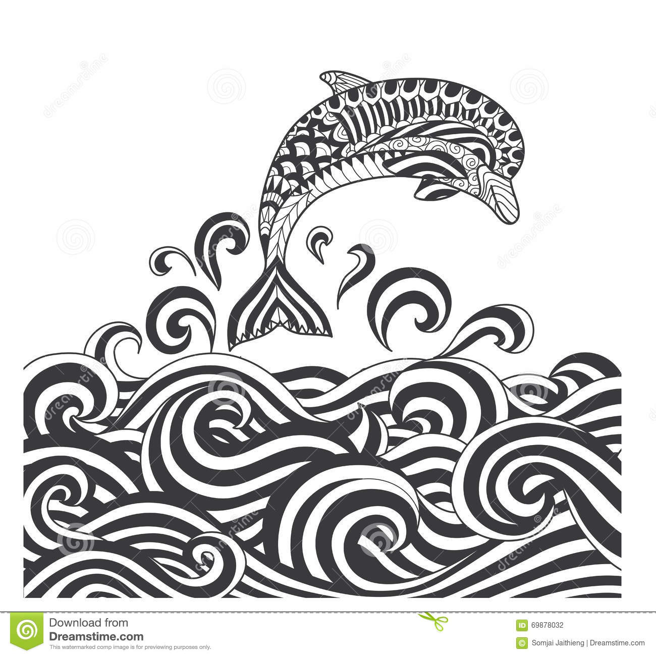 Vector Zentangle Dolphins In Scrolling Sea Wave For Adult Coloring Page Book Cover Poster T