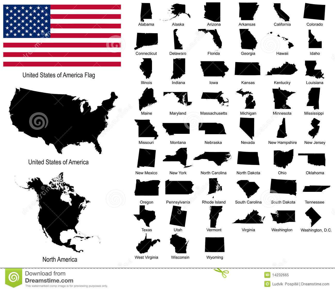 Vectors Of Usa States Stock Vector Illustration Of