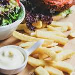 Vegan Burger With Salad And French Fries Stock Photo Image Of Good Food 132074348