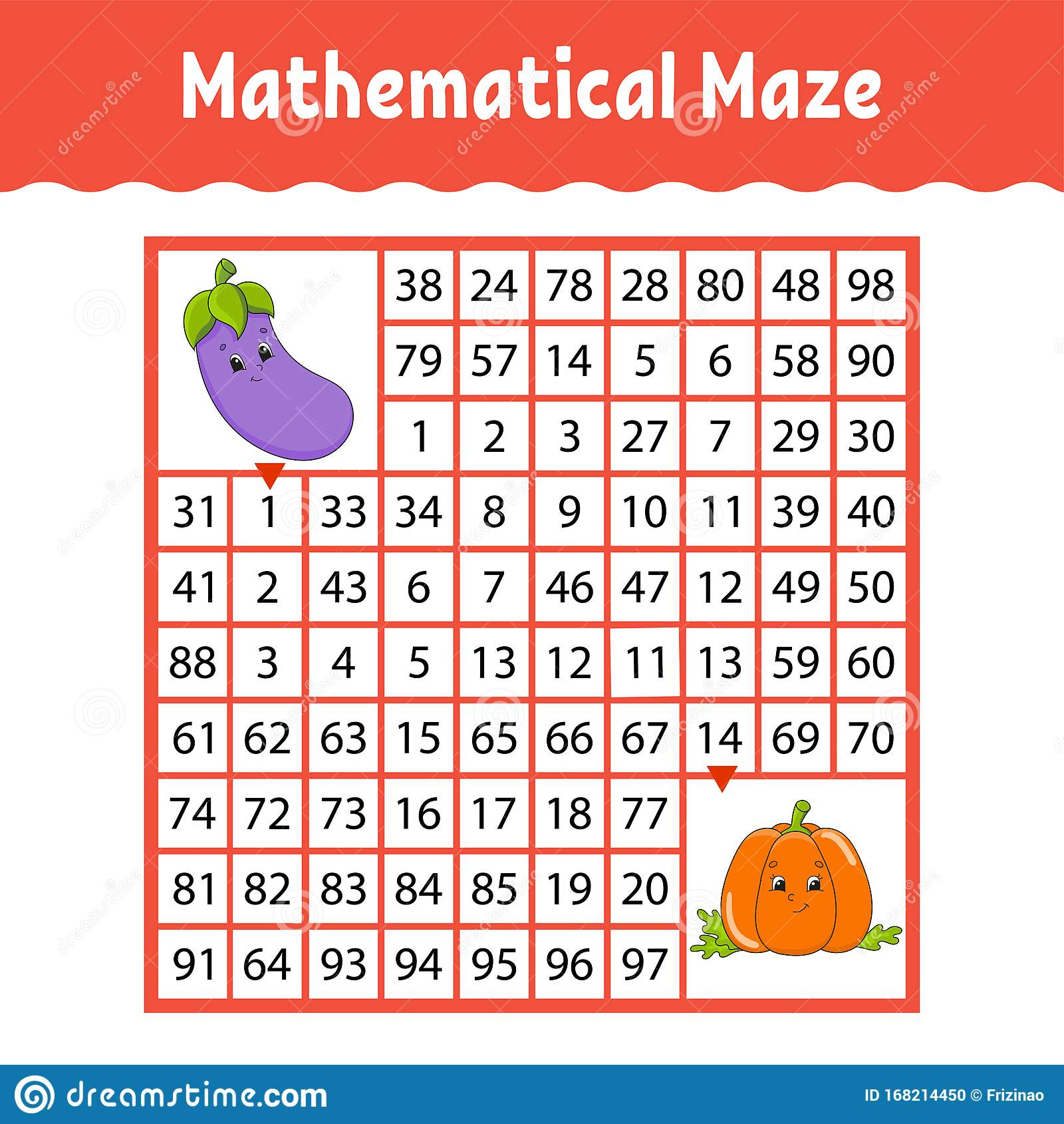 Vegetable Eggplant Pumpkin Mathematical Square Maze