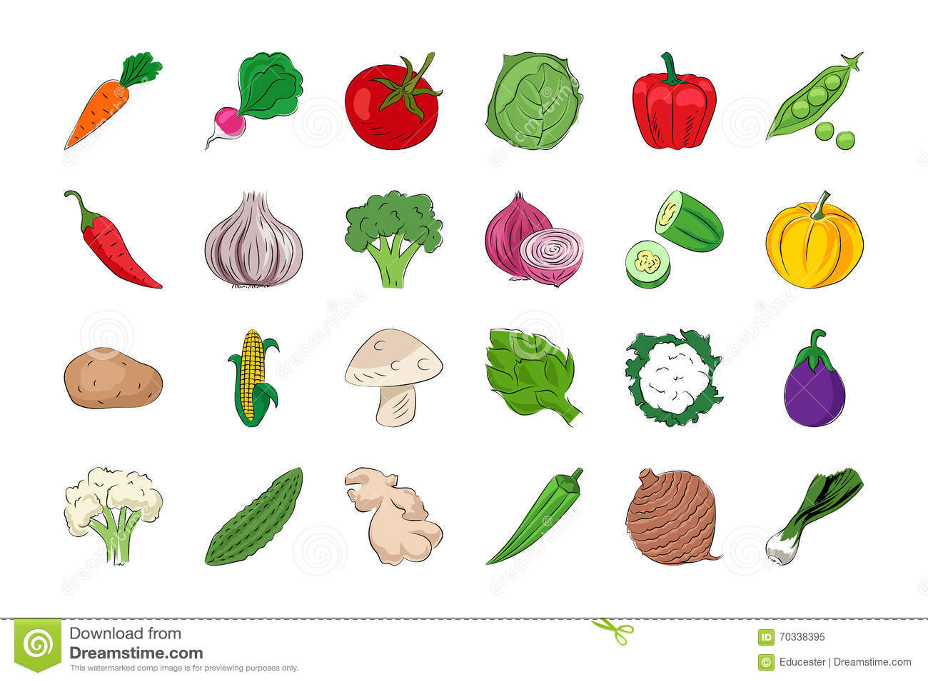 Vegetable And Fruits 1 Stock Illustration Illustration Of
