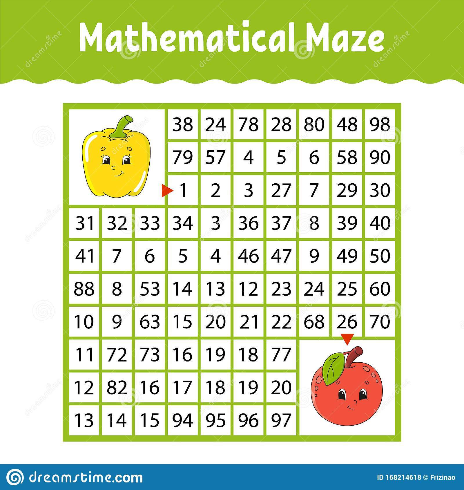 Vegetable Pepper Fruit Apple Mathematical Square Maze