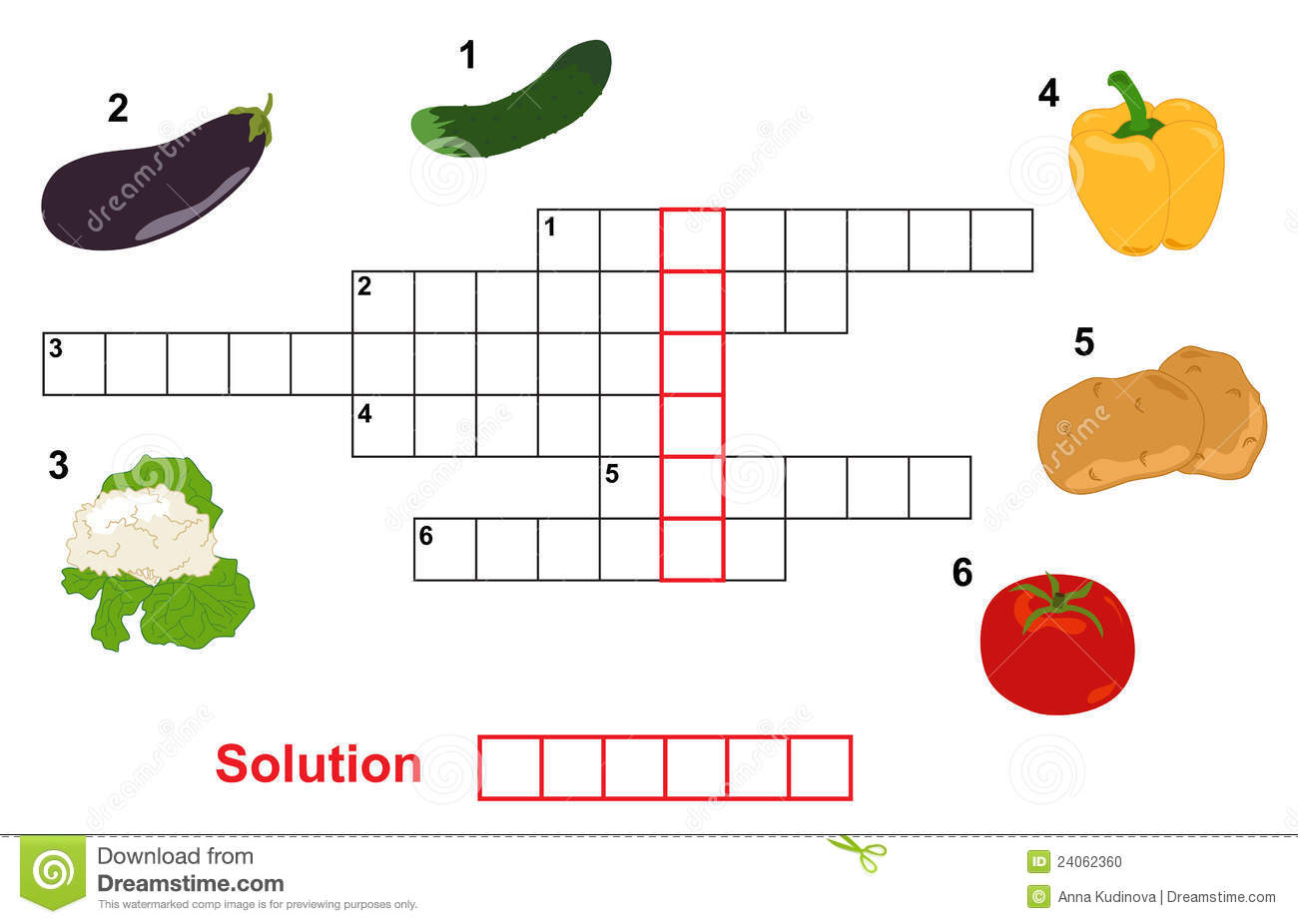 Vegetable Puzzle Crossword Stock Vector