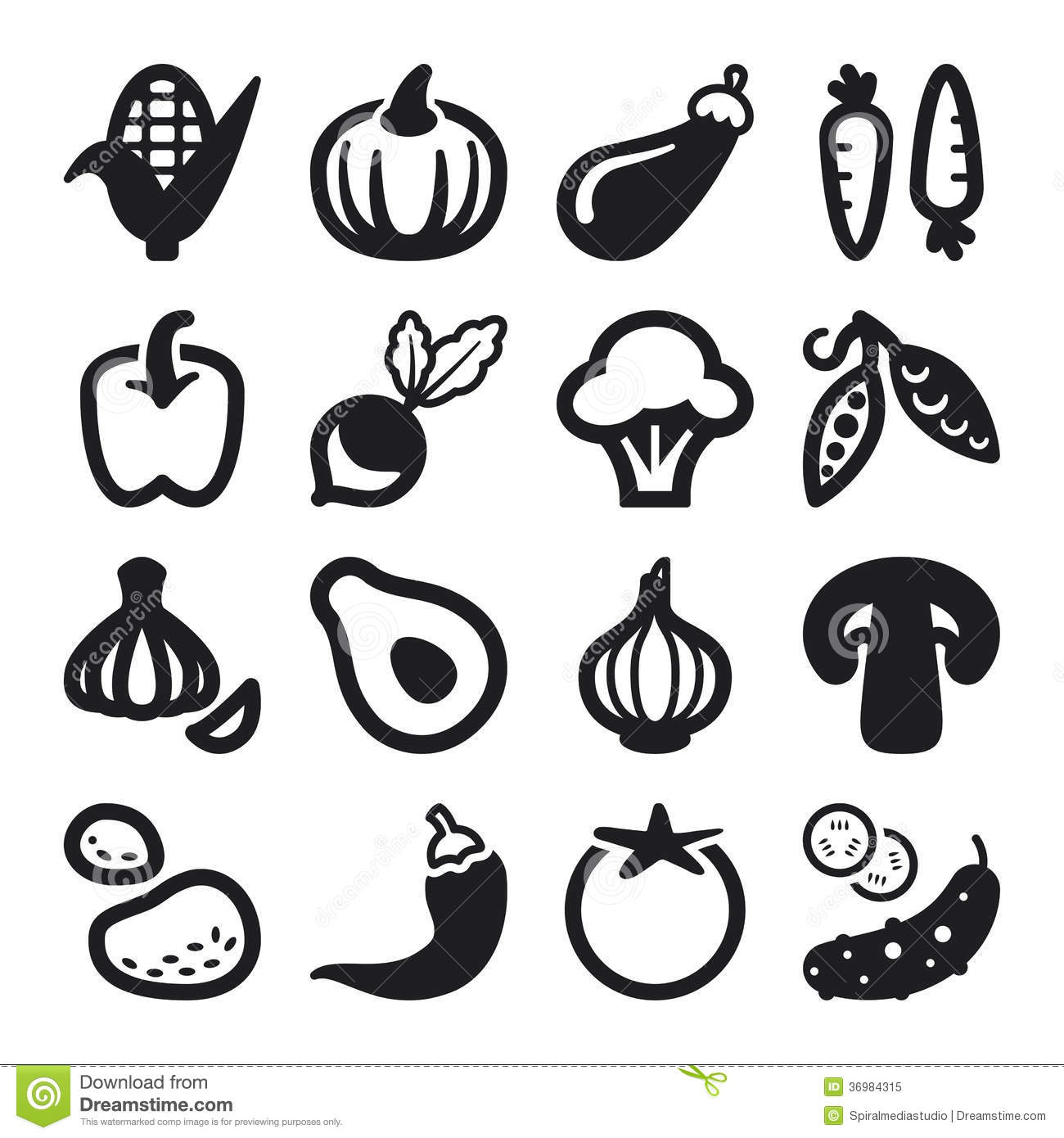 Vegetables Flat Icons Black Royalty Free Stock Photo