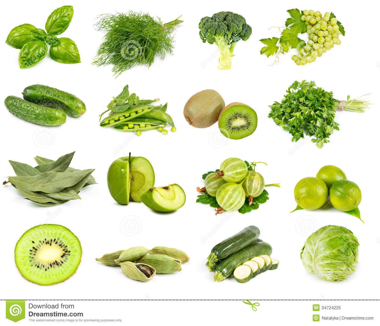 Vegetables Fruits And Spices Green Color Stock Image