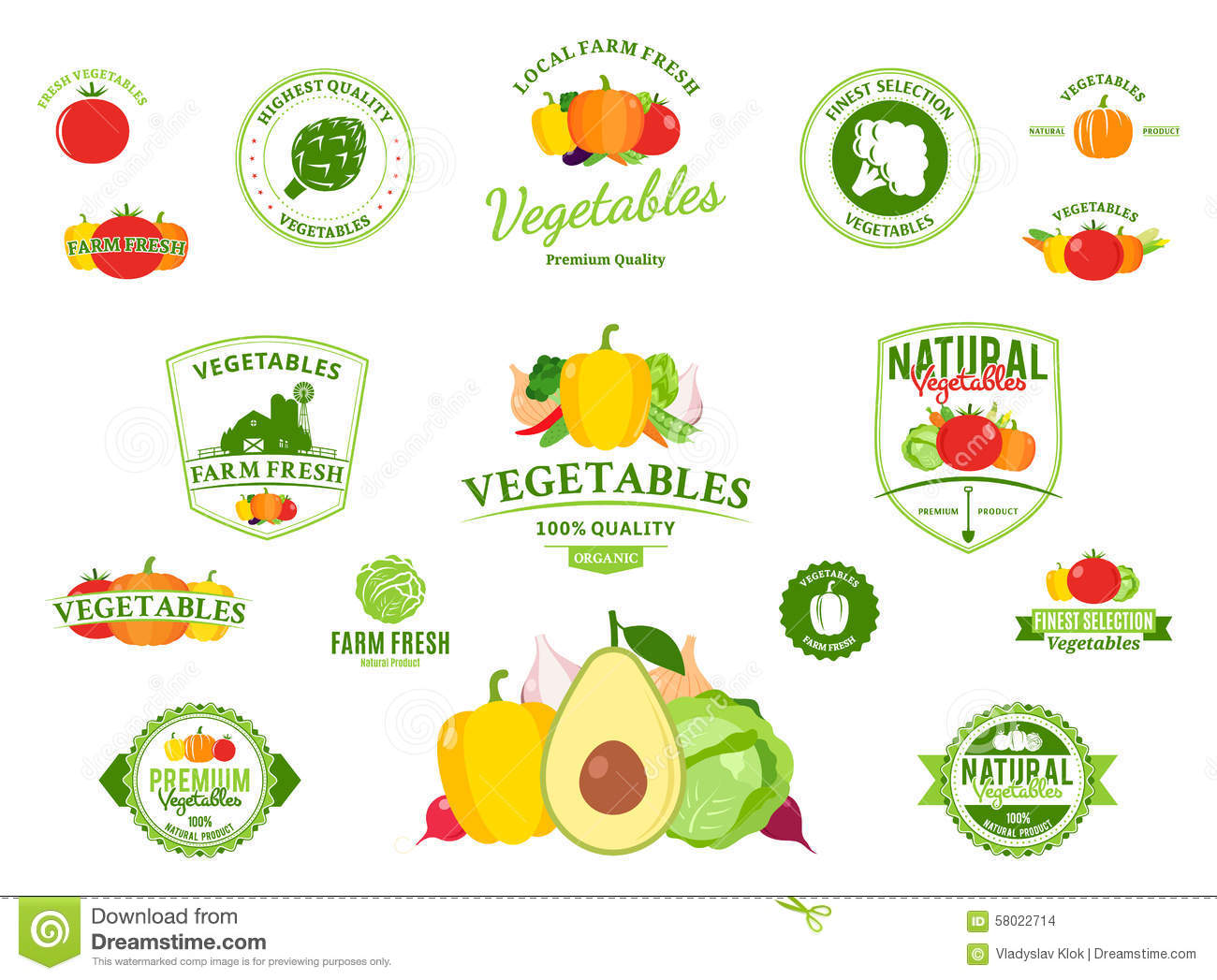 Vegetables Logos Labels Vegetables Icons And Design