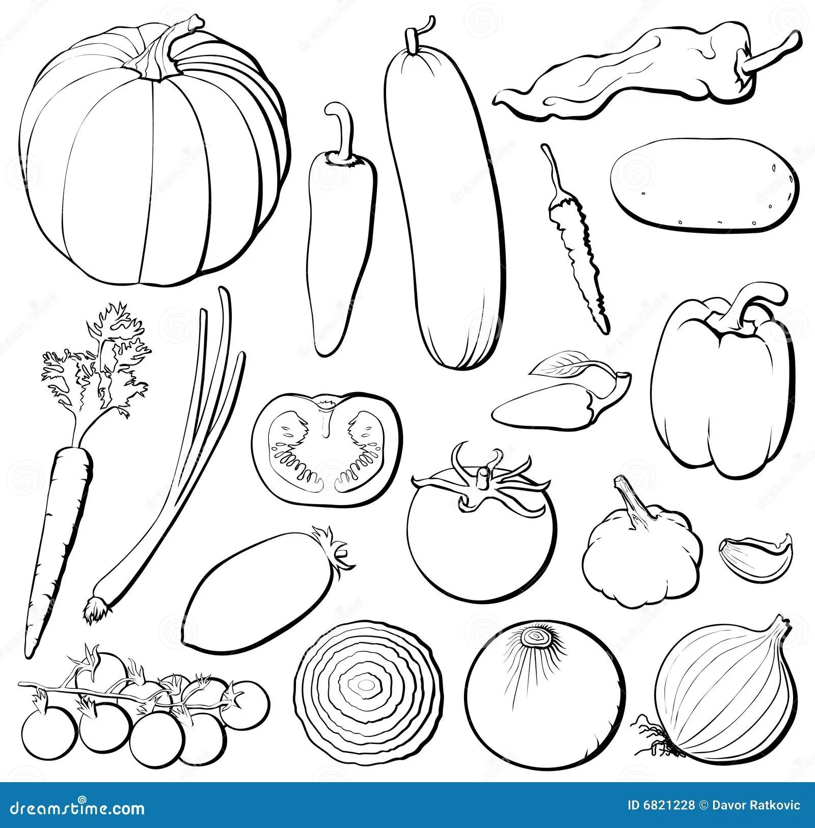 Vegetables Set B Amp W Stock Vector Illustration Of Green