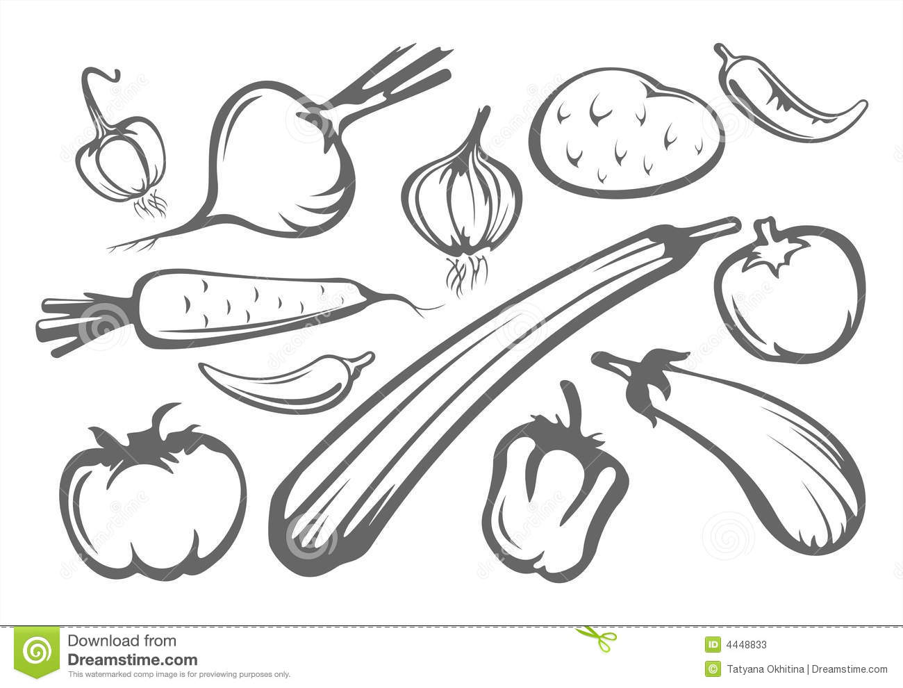 Vegetables Silhouettes Stock Vector Illustration Of Spice