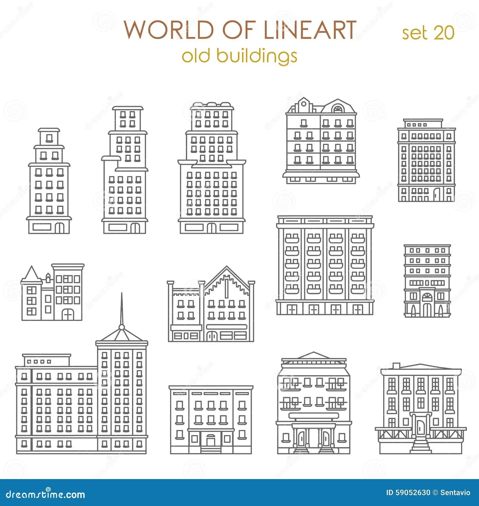 Vektor For Lineart For Historiska Gamla Byggnader For