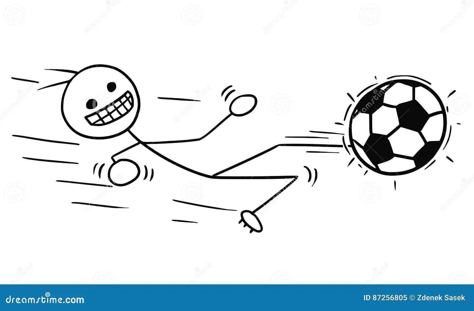 Vektor Stickman Karikatur Des Fu Ball Fu Ball Spielers