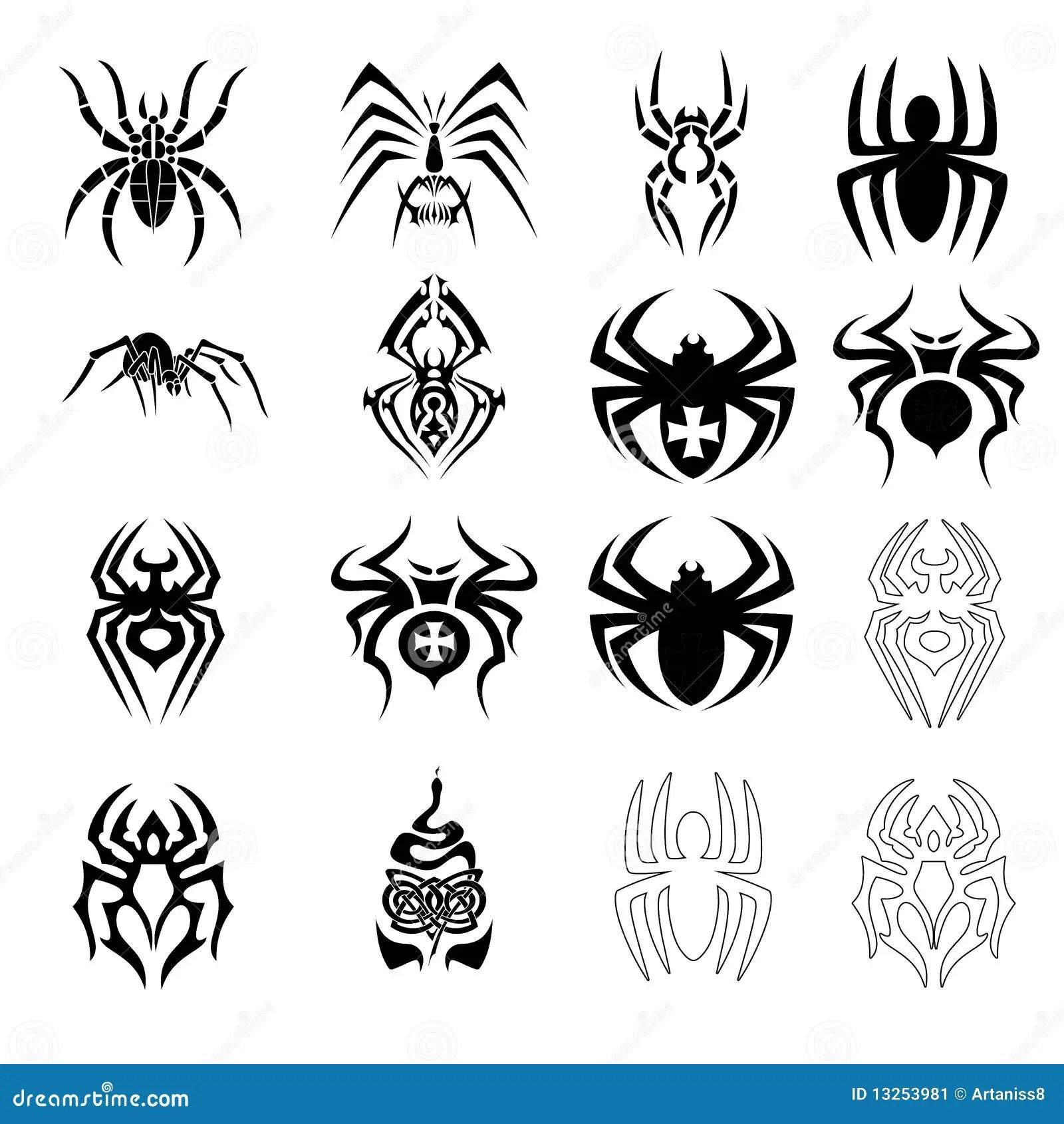 Vektorset Spinnensymbole Vektor Abbildung Illustration