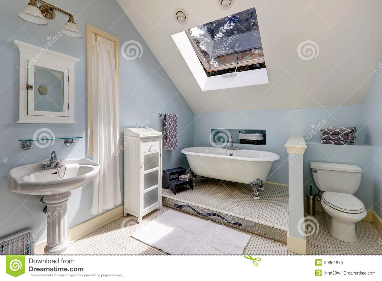 Velux Bathroom With Antique Bath Tub Stock Image Image Of Glass Vaulted 39961879